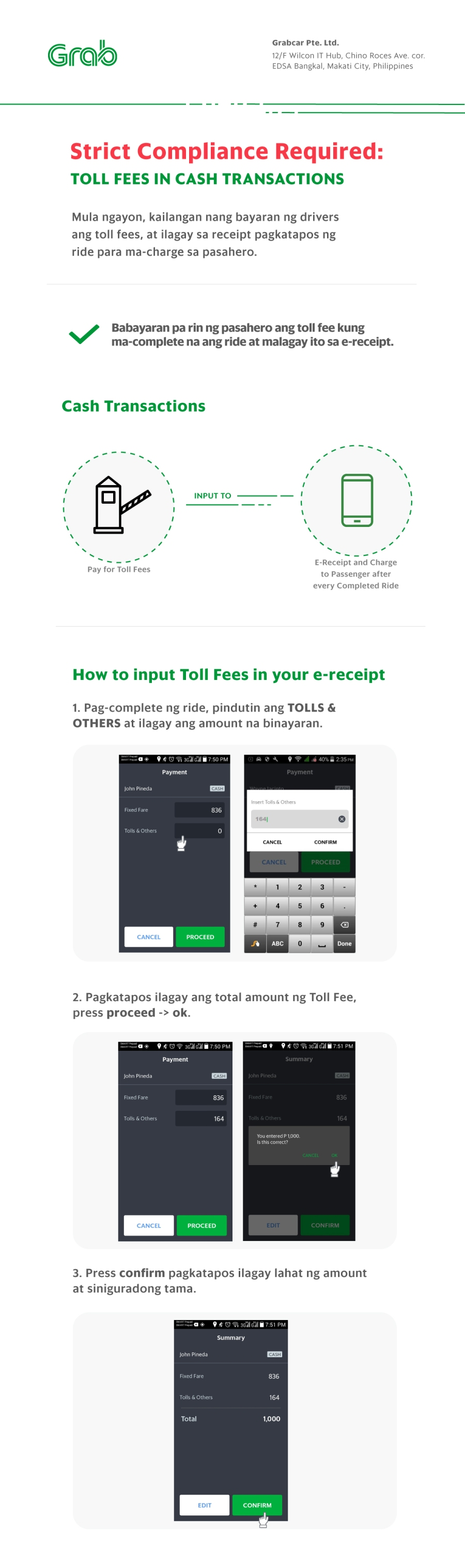 Toll Fee Cash Transactions